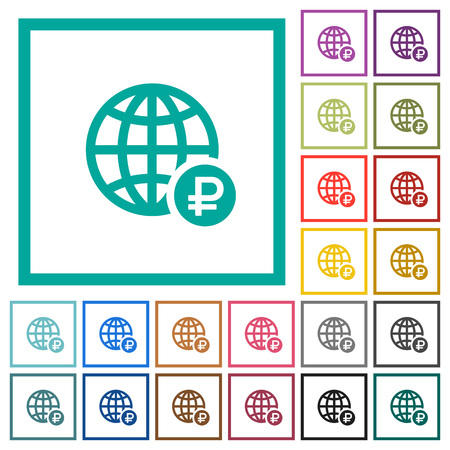 Online Ruble payment flat color icons with quadrant frames on white background