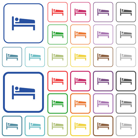 Sleeping man color flat icons in rounded square frames. Thin and thick versions included.