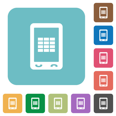 Mobile spreadsheet white flat icons on color rounded square backgrounds