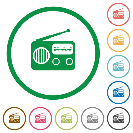 Vintage retro radio flat color icons in round outlines on white background