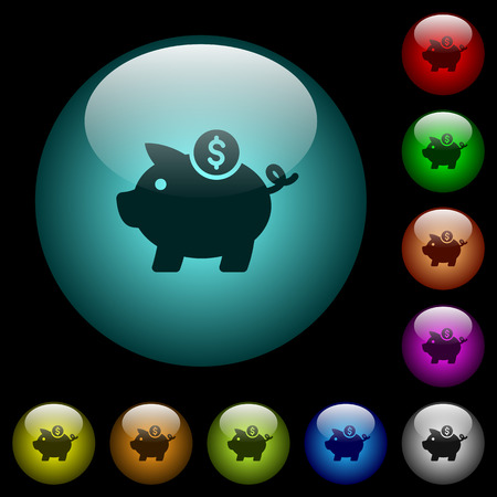 Dollar piggy bank icons in color illuminated spherical glass buttons on black background. Can be used to black or dark templates