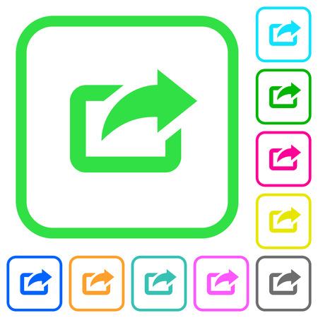 Exporter avec la flèche supérieure droite des icônes plates aux couleurs vives dans des bordures incurvées sur fond blanc