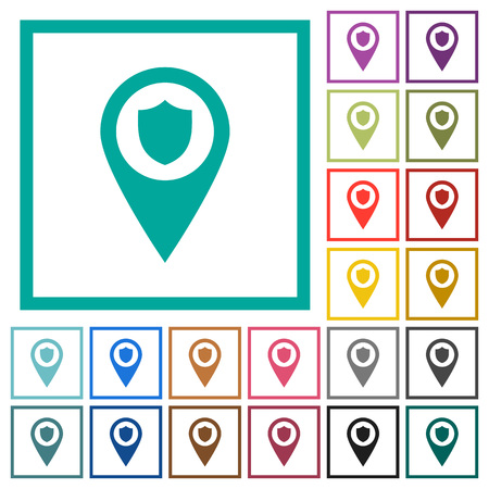 Police station GPS map location flat color icons with quadrant frames on white background