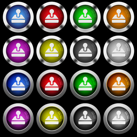 Retro joystick white icons in round glossy buttons with steel frames on black background. The buttons are in two different styles and eight colors.