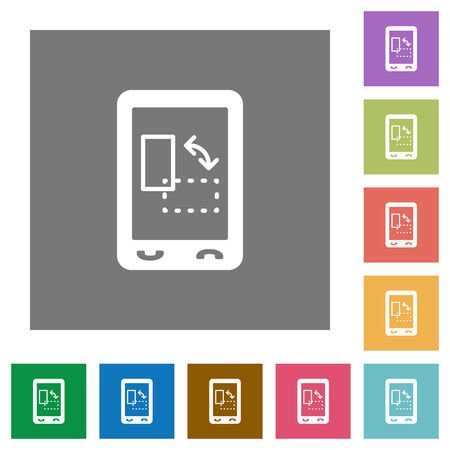 Mobile gyrosensor flat icons on simple color square backgrounds