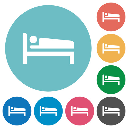 Sleeping man flat white icons on round color backgrounds