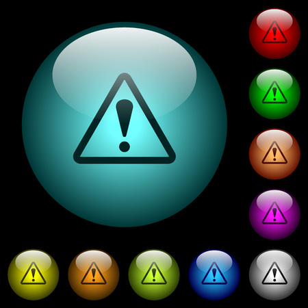 Triangle shaped warning sign icons in color illuminated spherical glass buttons on black background. Can be used to black or dark templates