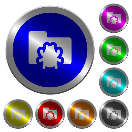 Bug folder icons on round luminous coin-like color steel buttons