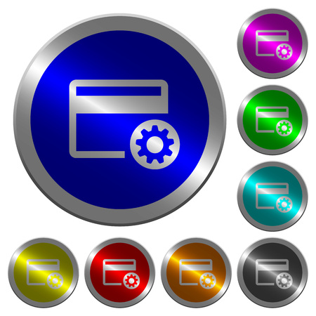 Credit card settings icons on round luminous coin-like color steel buttons