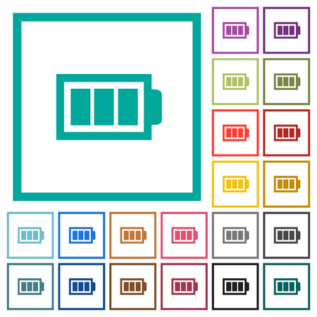 Full battery with three load units flat color icons with quadrant frames on white background