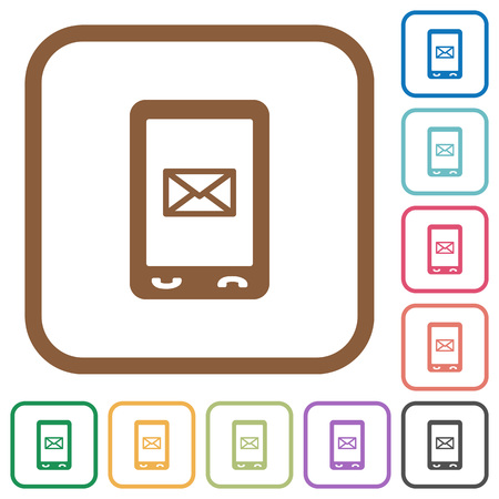Unread SMS message simple icons in color rounded square frames on white background