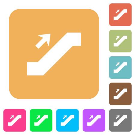 Escalator up sign flat icons on rounded square vivid color backgrounds. Ilustração