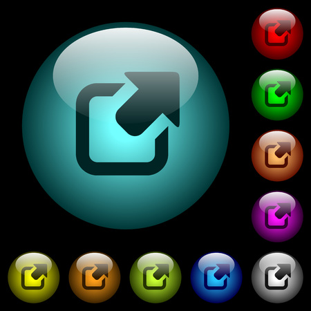 Export symbol with upper right arrow icons in color illuminated spherical glass buttons on black background. Can be used to black or dark templates