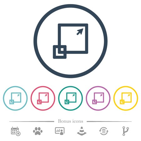 Maximize window flat color icons in round outlines. 6 bonus icons included. Illustration