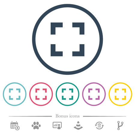 Selector tool flat color icons in round outlines. 6 bonus icons included.