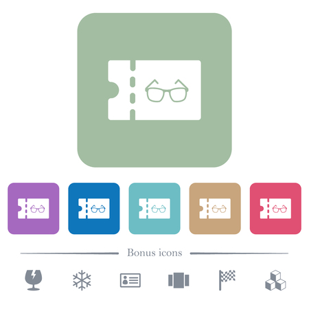 Optician shop discount coupon white flat icons on color rounded square backgrounds. 6 bonus icons included Illusztráció