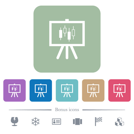 Presentation table with candlestick chart white flat icons on color rounded square backgrounds. 6 bonus icons included Stock Illustratie