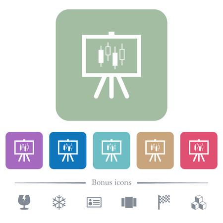 Prezentacja tabeli z białymi płaskimi ikonami wykresu świecowego na zaokrąglonym tle kwadratowych. W zestawie 6 dodatkowych ikon
