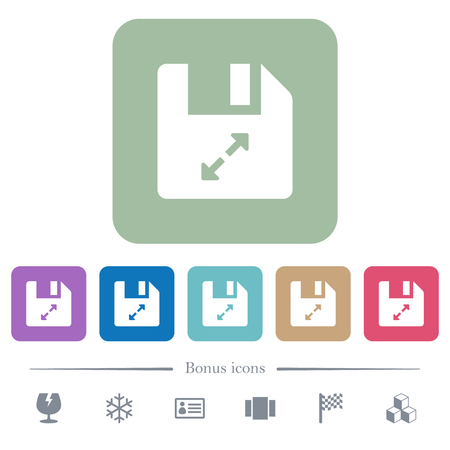 Uncompress file white flat icons on color rounded square backgrounds. 6 bonus icons included