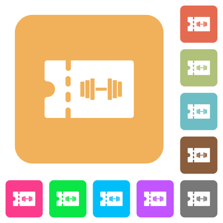 Gym discount coupon flat icons on rounded square vivid color backgrounds.