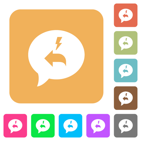Quick reply message flat icons on rounded square vivid color backgrounds.