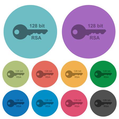 128 bit rsa encryption darker flat icons on color round background Ilustração Vetorial