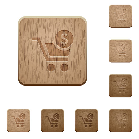 Checkout with Dollar cart on rounded square carved wooden button styles