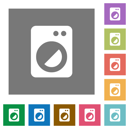 Washing machine flat icons on simple color square backgrounds