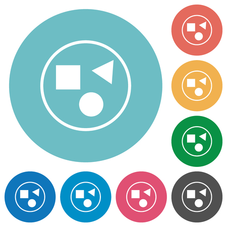 Grouping elements flat white icons on round color backgrounds