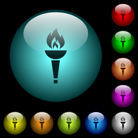 Torch icons in color illuminated spherical glass buttons on black background. Can be used to black or dark templates