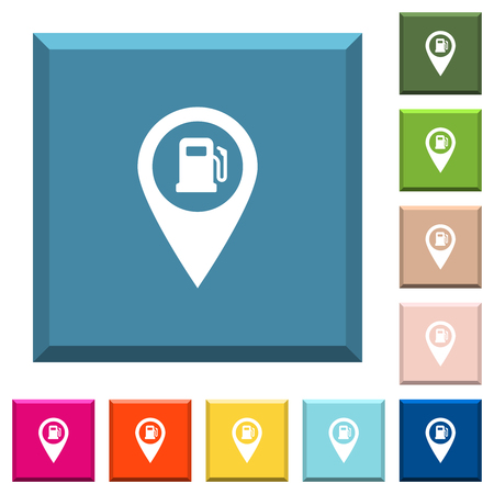 Gas station GPS map location white icons on edged square buttons in various trendy colors