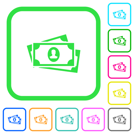 More banknotes with portrait vivid colored flat icons in curved borders on white background Illustration
