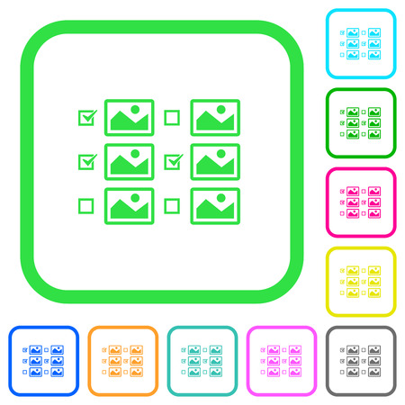 Multiple image selection with checkboxes vivid colored flat icons in curved borders on white background