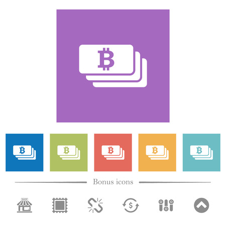 Bitcoin banknotes flat white icons in square backgrounds. 6 bonus icons included. Illustration