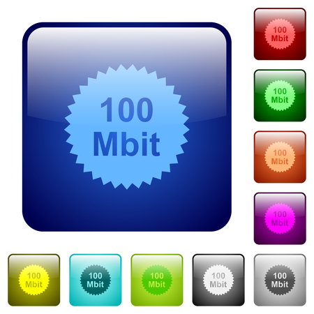 100 mbit guarantee sticker icons in rounded square color glossy button set