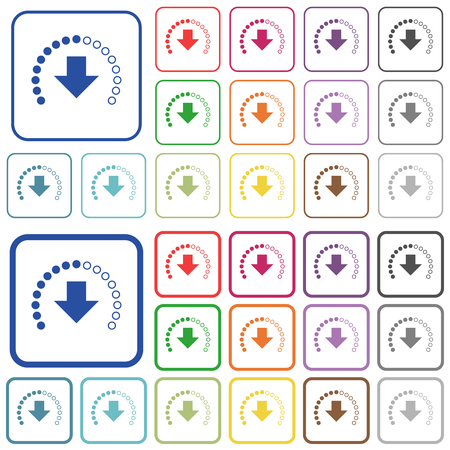 Download in progress color flat icons in rounded square frames. Thin and thick versions included.
