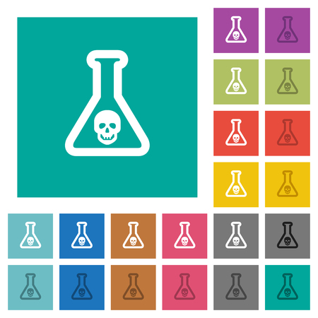 Dangerous chemical experiment multi colored flat icons on plain square backgrounds. Included white and darker icon variations for hover or active effects.