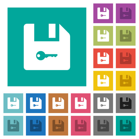 Encrypt file multi colored flat icons on plain square backgrounds. Included white and darker icon variations for hover or active effects.