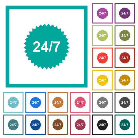 24 hours seven sticker flat color icons with quadrant frames on white background