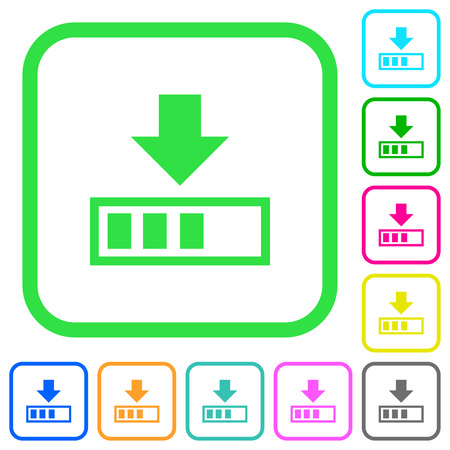 Download in progress vivid colored flat icons in curved borders on white background 向量圖像