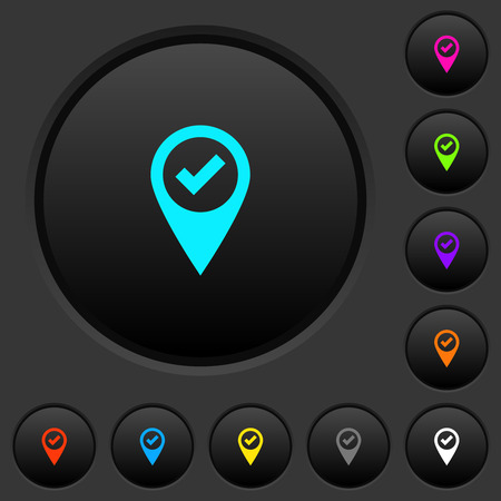 GPS map location ok dark push buttons with vivid color icons on dark grey background
