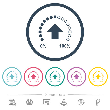 Download in progress flat color icons in round outlines. 6 bonus icons included.