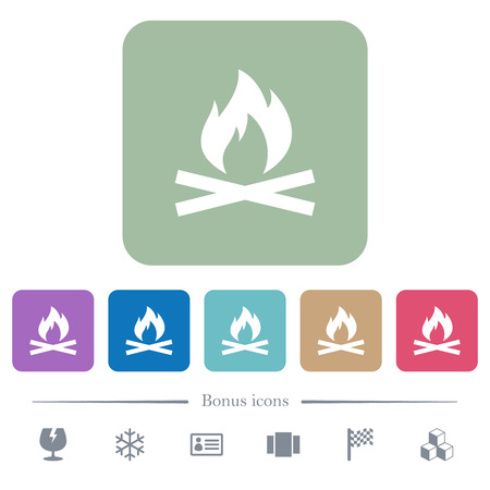 Camp fire white flat icons on color rounded square backgrounds. 6 bonus icons included