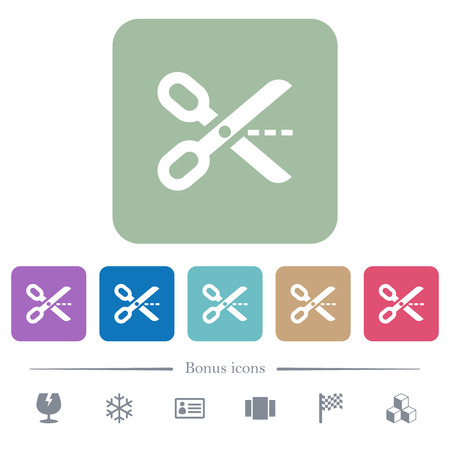 Cut out white flat icons on color rounded square backgrounds. 6 bonus icons included