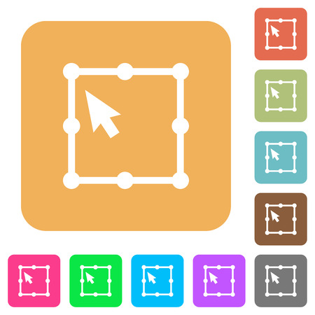 Free transform object flat icons on rounded square vivid color backgrounds.