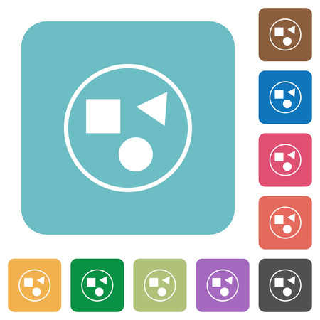 Grouping elements white flat icons on color rounded square backgrounds
