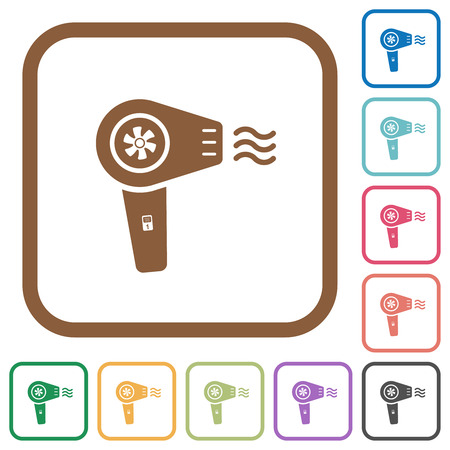 Hairdryer with propeller simple icons in color rounded square frames on white background