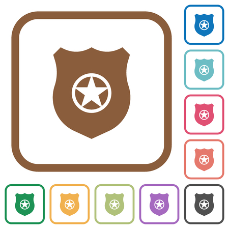 Police badge simple icons in color rounded square frames on white background