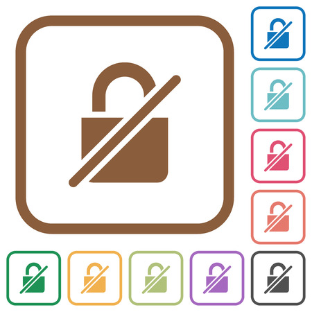 Unprotected simple icons in color rounded square frames on white background