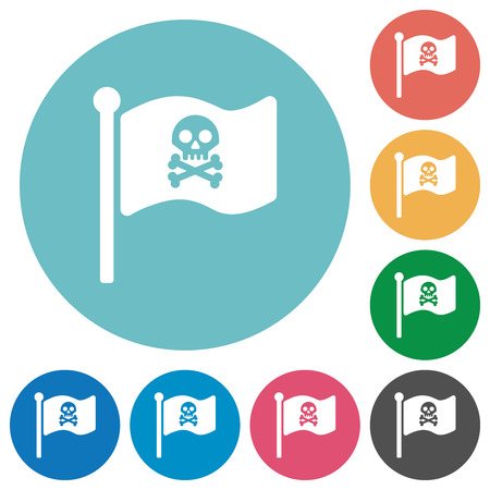 Pirate flag flat white icons on round color backgrounds
